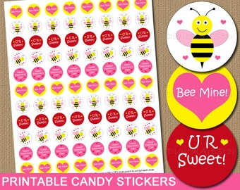 Valentines Day Candy Labels Printable Candy Stickers - DIY Cute Party Favors Chocolate Labels - Bumble Bee Bee Mine - INSTANT DOWNLOAD