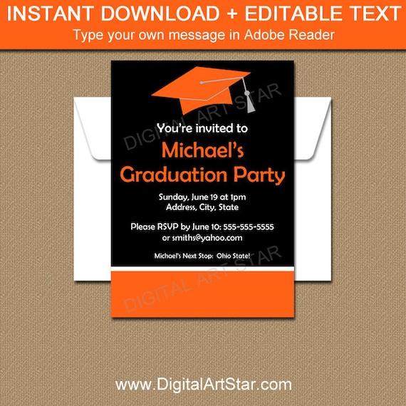 graduation party invitation template graduation invitation etsy
