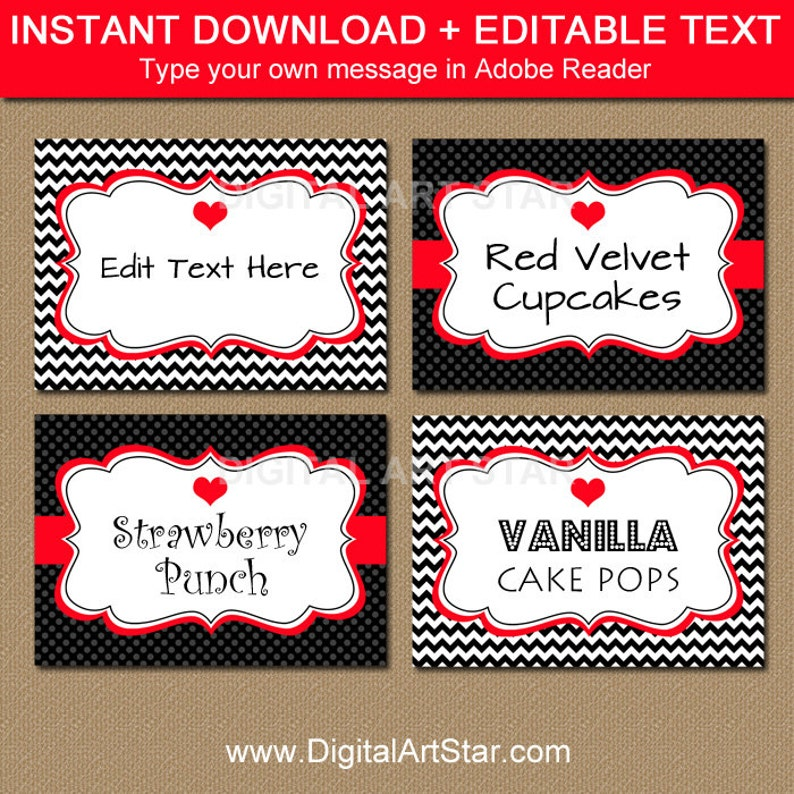 picture about Valentine Labels Printable known as Valentines Working day Labels - Printable Chevron Black Crimson Sweet Buffet Labels, Tent Playing cards - EDITABLE Valentine Buffet Playing cards, Food items Tags V1