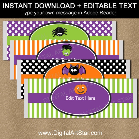 Halloween Candy Wrappers Instant Download Halloween Party Favors