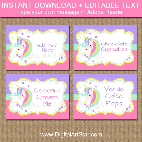 Unicorn Candy Buffet Labels Girl Birthday Label Girl