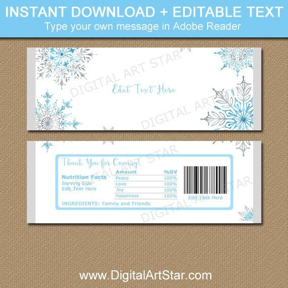 Snowflake Party Favors Snowflake Candy Wrapper Template Christmas