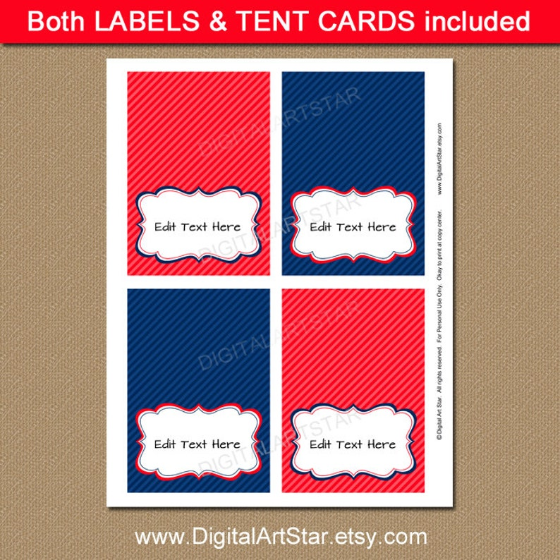 DIY Food Labels Red and Navy Buffet Labels B2 Birthday Labels Baby Shower Labels Printable Buffet Cards EDITABLE Tent Cards Fancy Labels