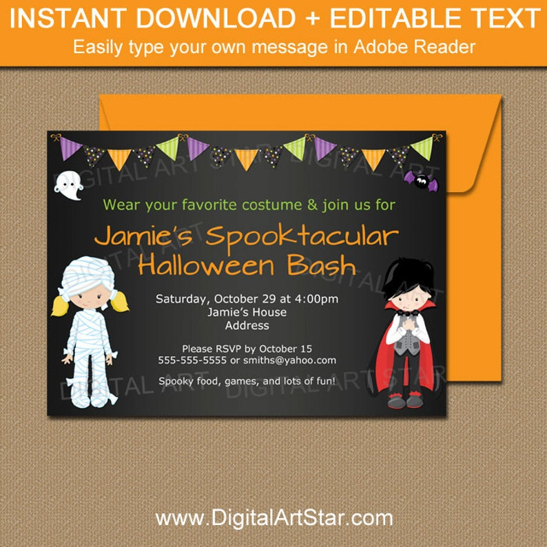 image about Printable Halloween Invitations called Instantaneous Down load Halloween Invitation - Printable Halloween Social gathering Invitation - Chalkboard Halloween Invite - Young children Halloween Invitation HCBK