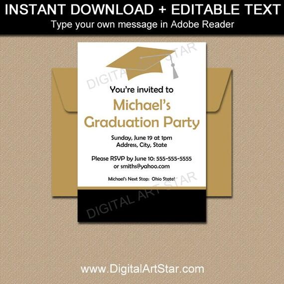 High School Graduation Invitation Template Printable Black And
