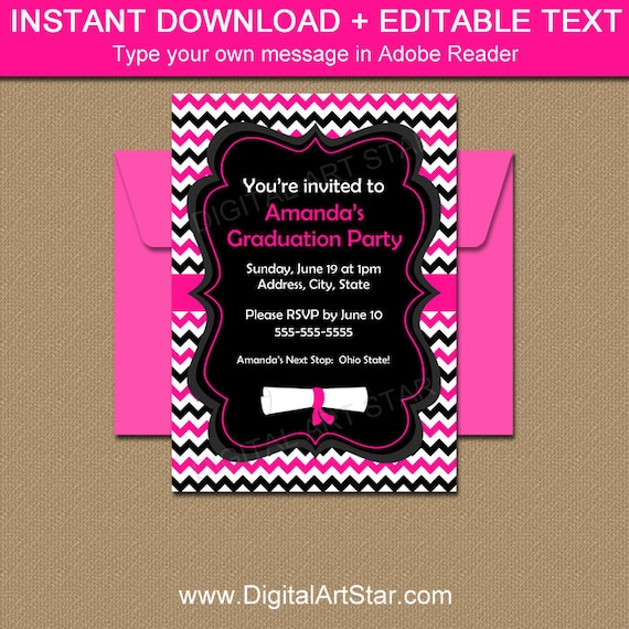 Graduation Invitation Instant Download Hot Pink Graduation Party