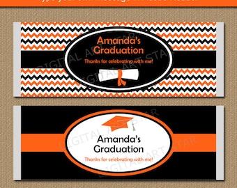 Graduation Candy Bar Wrapper Template - College Graduation Party Favors Instant Download - EDITABLE PDF - Grad Candy Wraps Orange Black G3