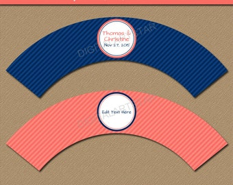 Bridal Shower Cupcake Wrappers - Printable Cupcake Liners - EDITABLE Template - Downloadable Coral and Navy Striped Cupcake Decorations