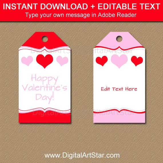 Printable Valentines Day Gift Tag Template Red And Pink Heart Tags Valentine Birthday Favor Party V5