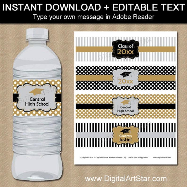 picture about Water Bottle Labels Printable referred to as Black Gold Silver Commencement H2o Bottle Labels, Printable Bash Decorations, Editable College or university Commencement H2o Labels Fast Obtain G4