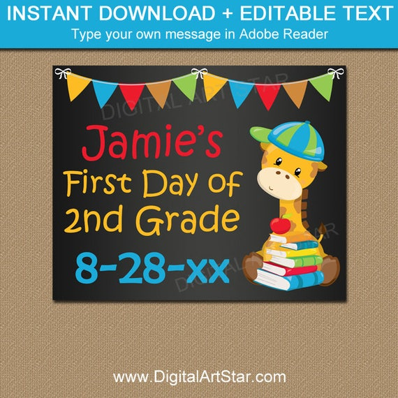 first day of school chalkboard sign template printable chalkboard