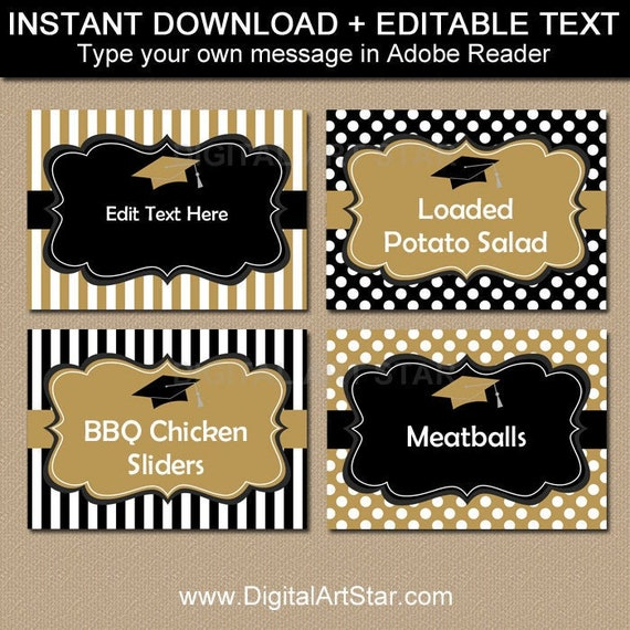 image relating to Printable Graduation Decorations known as Commencement Sweet Buffet Labels, Commencement Meals Labels