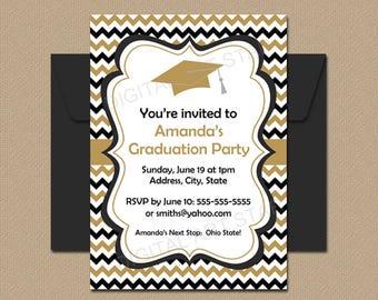 Black Gold White Graduation Printable Invitation Template, Graduation Announcement Template, Downloadable Graduation Party Invitation G3