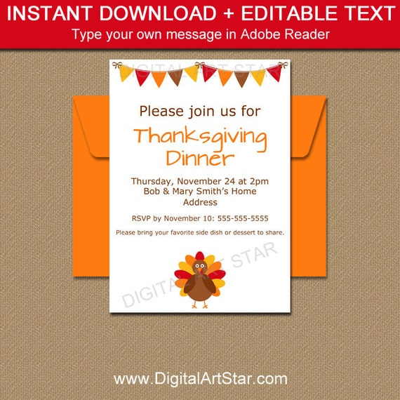 Thanksgiving Invitation Download PRINTABLE Friendsgiving