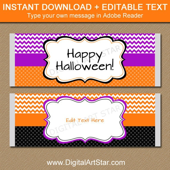 Halloween Candy Bar Wrapper Chocolate Bar Wrapper Download Etsy