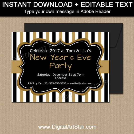 new years eve invitation printable new years eve party invite