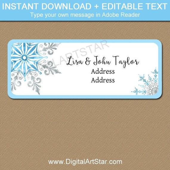 snowflake address labels christmas address label download printable return address label template holiday address mailing labels