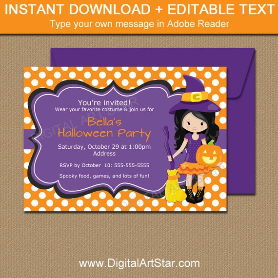 Kids Halloween Birthday Party Invitations Witch Invitation Girl Self Editable Invite Printable WDS