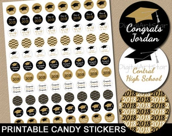 Personalized Graduation Candy Stickers, High School Graduation Printable Candy Idea, College Graduation Favors Black and Gold Party Decor G2