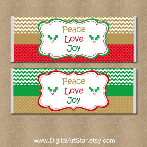 Christmas Candy Labels Holiday Candy Bar Wrappers Etsy
