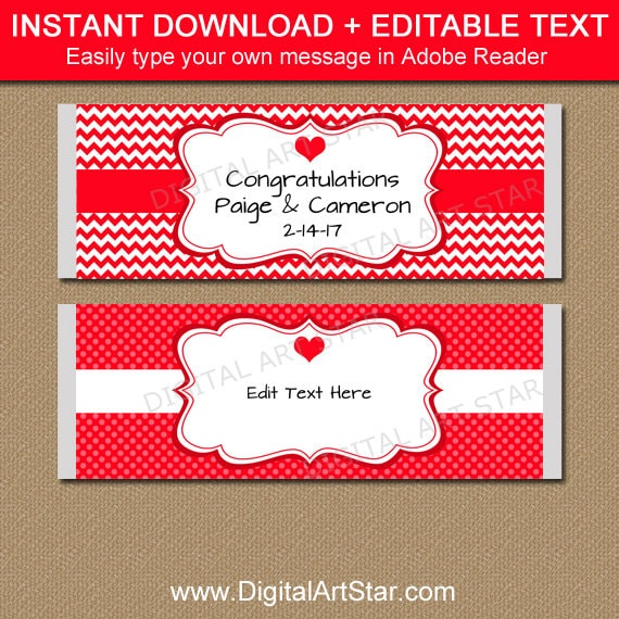 Red And White Printable Candy Bar Wrappers Valentines Day Chocolate