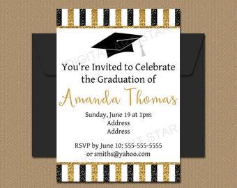 Printable Glitter Graduation Invitation, High School Graduation Invitations, Graduation Party Invites, Graduation Decorations Black Gold G9