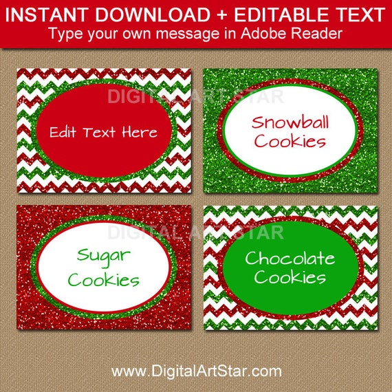 EDITABLE Christmas Food Labels Holiday Place Cards Printable Christmas Buffet Cards Holly Labels with Gold Accents Christmas Labels