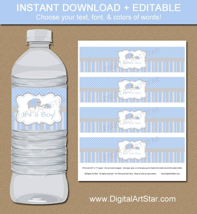 Elephant Party Water Bottle Labels  Blue Grey  EDITABLE image 0
