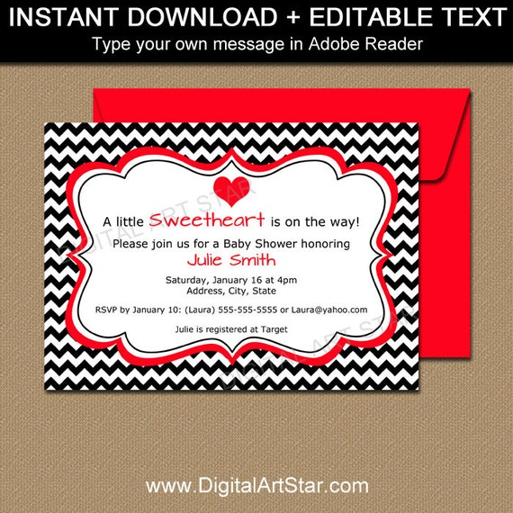 Valentine Baby Shower Invitation Template Editable Baby Shower