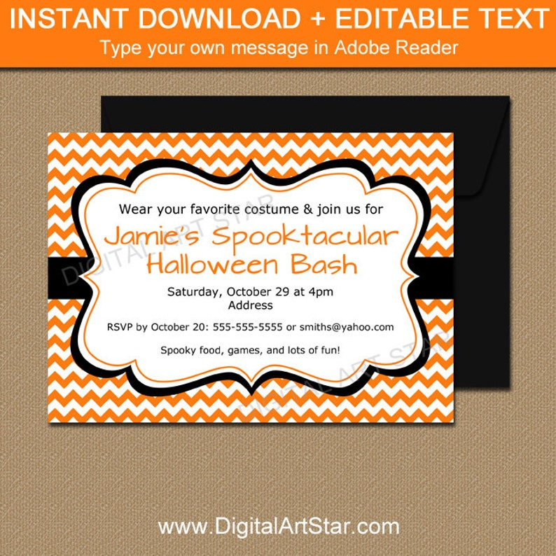 picture regarding Printable Halloween Party Invitations identified as Halloween Invitation, Printable Halloween Celebration Invitation, Grownup Halloween Invitation, Orange Chevron Invitation, Dress Social gathering Invitation