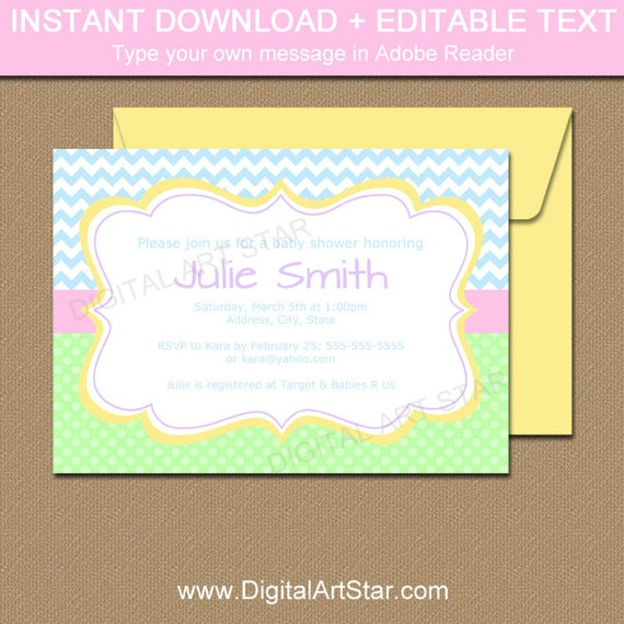 Pastel Baby Shower Invitation Template Spring Template Printable