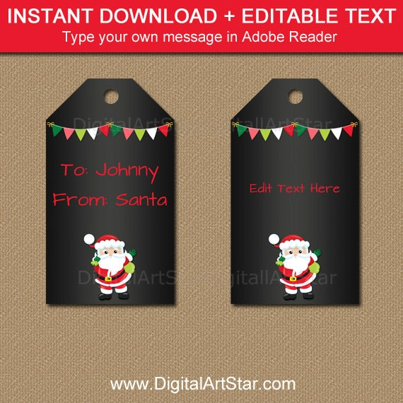 printable santa tags christmas chalkboard tag from santa tags