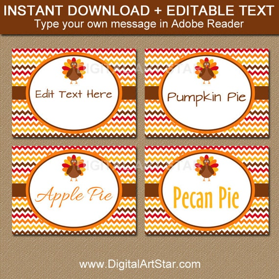 fall place cards printable turkey labels editable thanksgiving