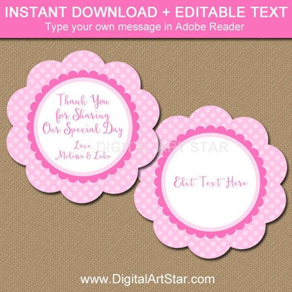 Darling Souvenir Baby Shower Thank you Favor Tags Custom Hang Gift Tags-Black-50 Tags