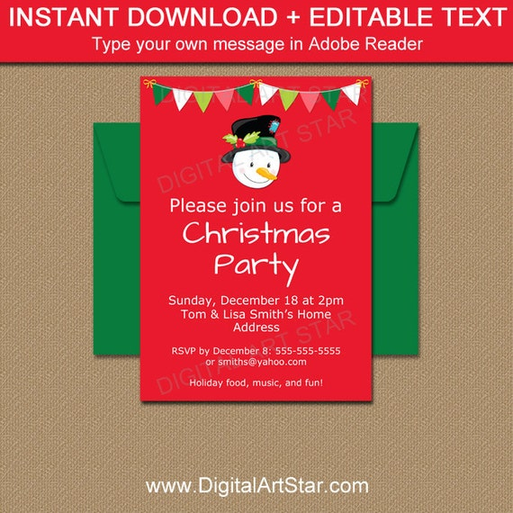 photograph regarding Printable Holiday Invitation referred to as Xmas Occasion Invites, Snowman Invites, PRINTABLE