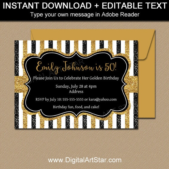 Milestone Birthday Invitation Template 50th Invitations Black And Gold Anniversary Party Invite Printable Glitter B4