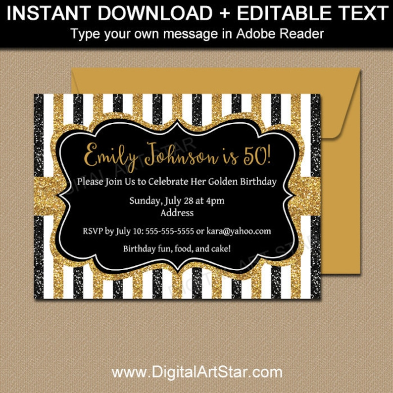 Milestone Birthday Invitation Template 50th