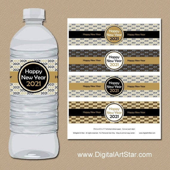 Big Dot of Happiness Rose Gold Happy New Year New Years Eve Party Water Bottle Sticker Labels Set of 20