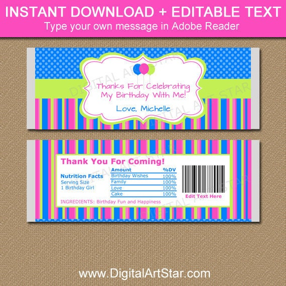 Printable Birthday Candy Bar Wrappers Girl Chocolate Adult Party Favors Instant Download Ideas By Digital Art Star Catch My