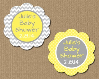 Yellow and Gray Baby Shower Tags, Gender Neutral Baby Shower Favor Tags, Baby Shower Personalized Labels, Customized Party Favor Tags BB1