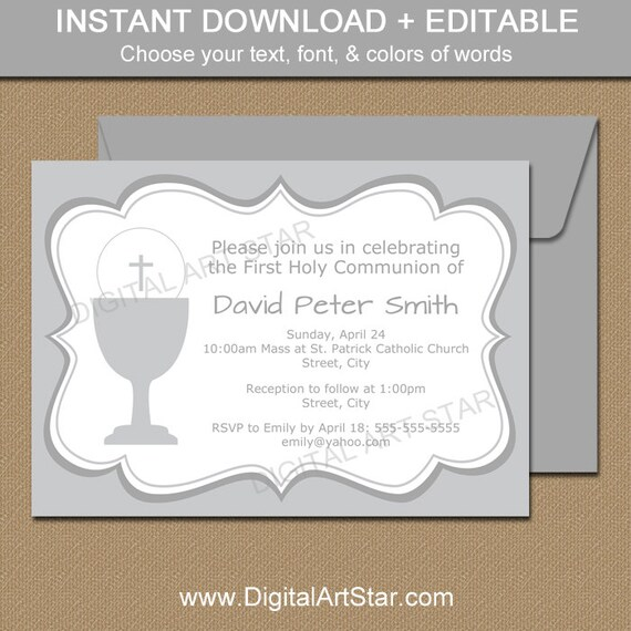 It is a graphic of Légend Printable First Communion Invites