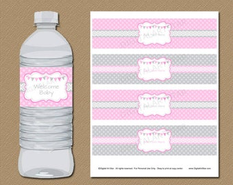 Baby Shower Party Decorations, Girl Baby Shower Decoration, Water Bottle Labels, Pink and Gray, Girl Birthday Party Ideas, Wedding Ideas BB9