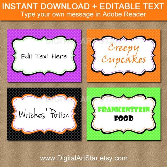 Instant Download Food Labels Digital Buffet Card Printable Food Labels Editable Food Labels Printable Food Labels Editable Buffet Cards