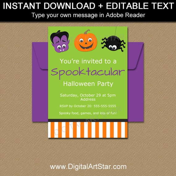 halloween party invitation kids kids costume party etsy