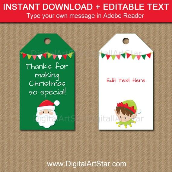 Holiday Tags Printable Holiday Gift Tags Santa Tags Elf Etsy