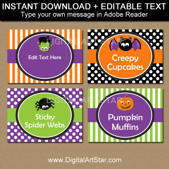 kids halloween labels kids halloween candy buffet labels etsy