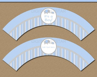 Elephant Cupcake Wrappers - EDITABLE Baby Shower Cupcake Wrappers - Printable Blue & Grey Cupcake Liners - Downloadable Party Decorations