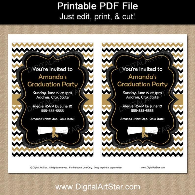 Printable College Graduation Invitation Graduation Invitation Editable Black and Gold Graduation Template G3 Digital Download Invitation