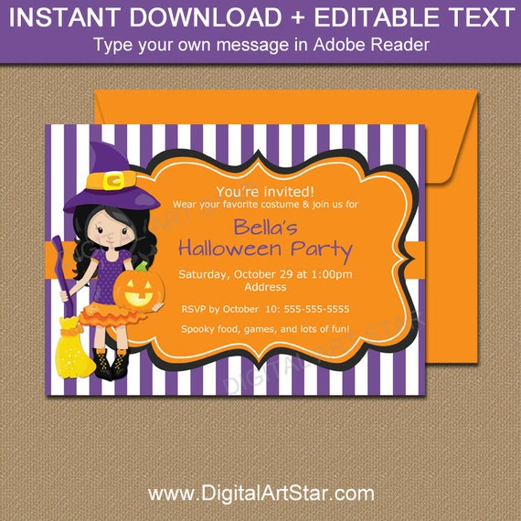 witch invitations halloween party invitation instant download