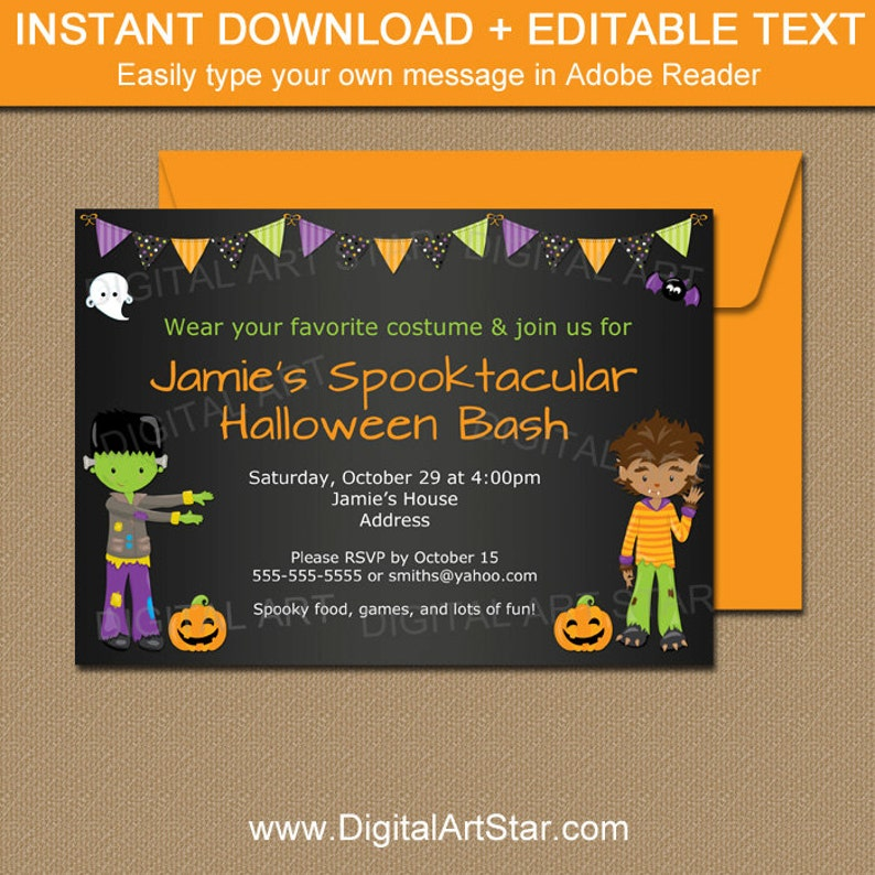 Boy Halloween Party Invitation Printable Kids